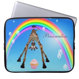 Jirafa, magdalena y arco iris lindos, divertidos fundas portátiles