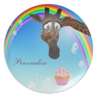 Jirafa magdalena y arco iris lindos divertidos plato para fiesta