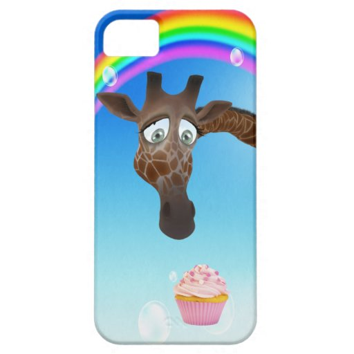 Jirafa, magdalena y arco iris lindos iPhone 5 Case-Mate protectores