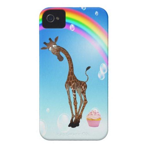 Jirafa, magdalena y arco iris lindos iPhone 4 Case-Mate carcasas