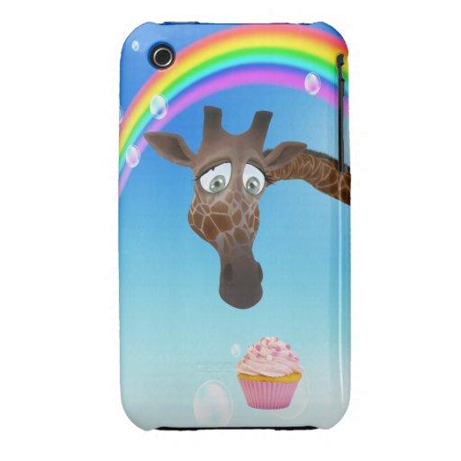 Jirafa, magdalena y arco iris lindos iPhone 3 cobreturas