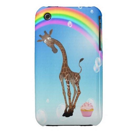 Jirafa, magdalena y arco iris lindos iPhone 3 Case-Mate coberturas