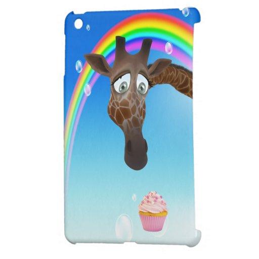 Jirafa, magdalena y arco iris lindos iPad mini fundas