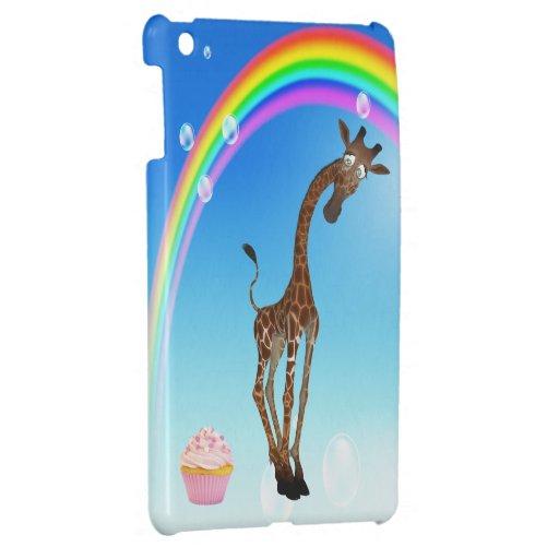 Jirafa, magdalena y arco iris lindos iPad mini funda