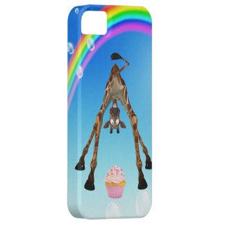 Jirafa, magdalena y arco iris lindos funda para iPhone SE/5/5s