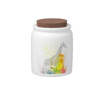 Jirafa manchada colorida (arte de Kim Turnbull) Jarras Para Caramelos