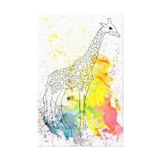 Jirafa manchada colorida (arte de Kim Turnbull) Impresión En Lienzo