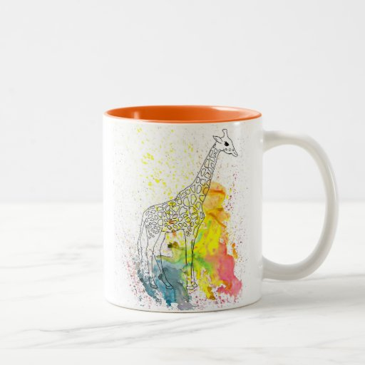 Jirafa manchada colorida (arte de Kim Turnbull) Taza De Café De Dos Colores