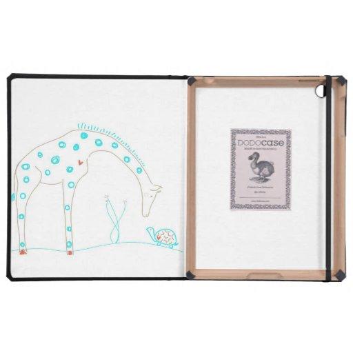Jirafa minimalista - blanco y aguamarina iPad protectores