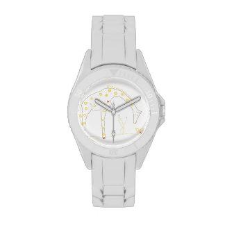 Jirafa minimalista - blanco y amarillo relojes de pulsera