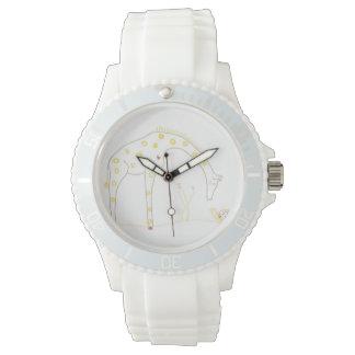 Jirafa minimalista - blanco y amarillo relojes