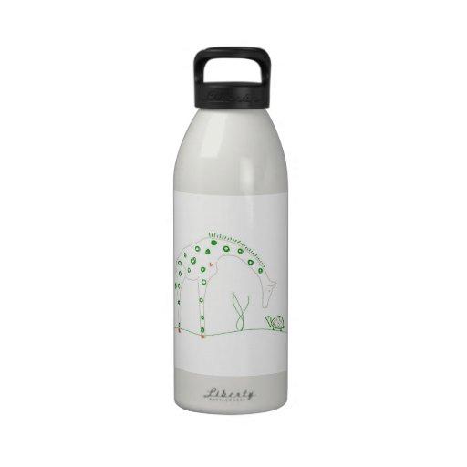 Jirafa minimalista - blanco y verde botallas de agua