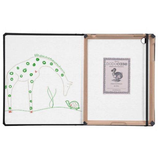 Jirafa minimalista - blanco y verde iPad carcasa