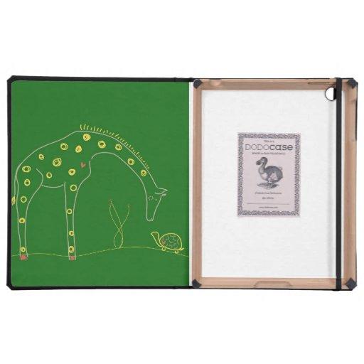 Jirafa minimalista - verde iPad protector