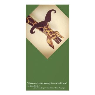 Jirafa Mustached Tarjeta Fotografica Personalizada