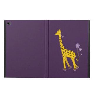 Jirafa patinadora divertida púrpura del dibujo