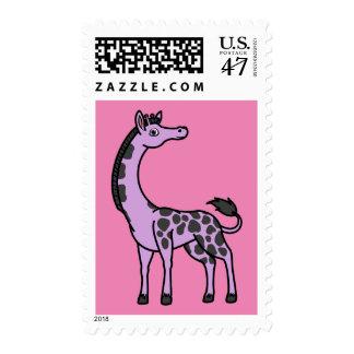Jirafa purpúrea clara con los puntos negros sello