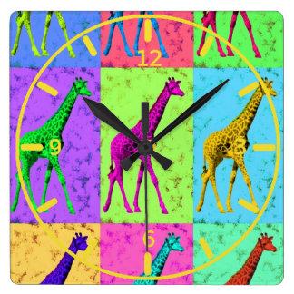 Jirafa que camina de Popart del arte pop Relojes De Pared