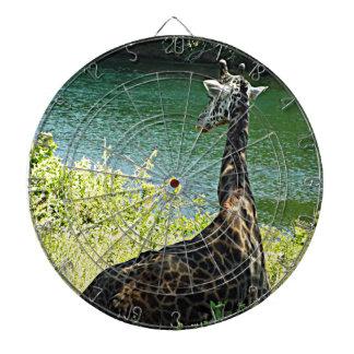 Jirafa que se sienta debajo de un parque zoológico tablero de dardos