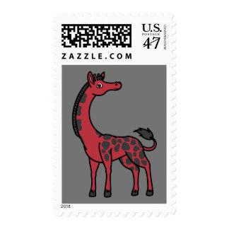 Jirafa roja con los puntos negros sellos