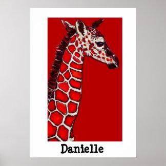 jirafa roja, negra, y blanca del bebé poster