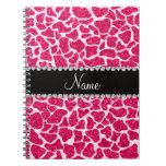 Jirafa rosada conocida de encargo del brillo cuaderno