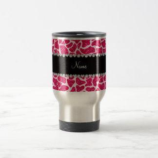 Jirafa rosada conocida de encargo del brillo taza térmica