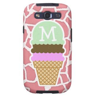 Jirafa rosada del caramelo; Cono de helado Samsung Galaxy S3 Funda