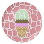 Jirafa rosada del caramelo; Cono de helado Plato De Cena