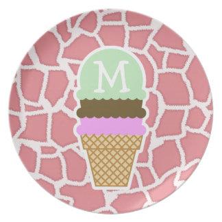 Jirafa rosada del caramelo; Cono de helado Platos Para Fiestas