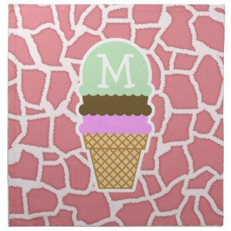 Jirafa rosada del caramelo; Cono de helado Servilletas De Papel