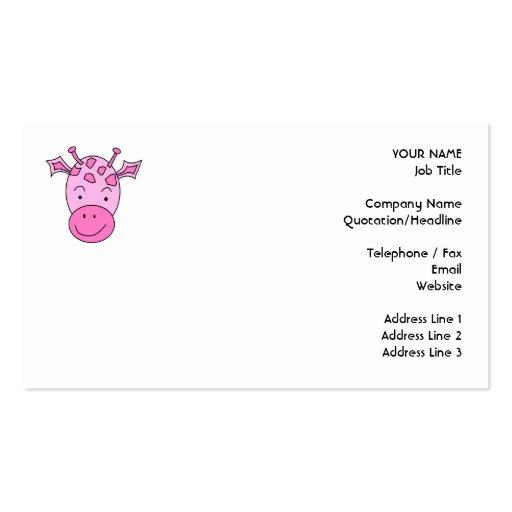 Jirafa rosada linda tarjetas de visita