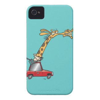 jirafa tonta divertida en un coche que conmuta iPhone 4 Case-Mate carcasas