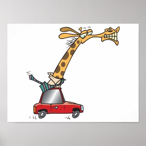 jirafa tonta divertida en un coche que conmuta posters