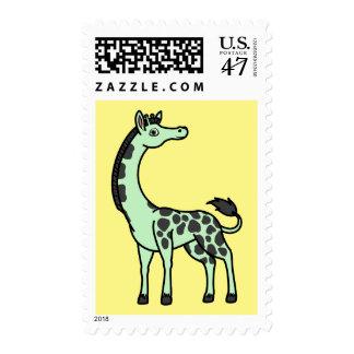 Jirafa verde clara con los puntos negros timbres postales