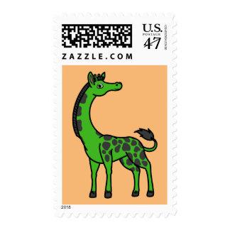 Jirafa verde con los puntos negros timbres postales