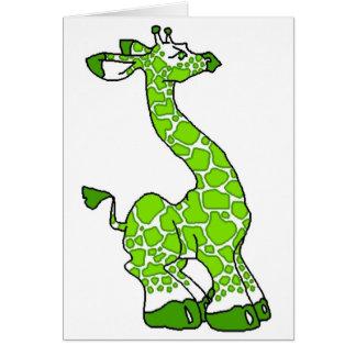 Jirafa verde tarjeta de felicitación