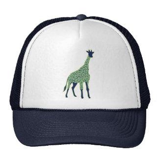 Jirafa verde y azul gorras de camionero