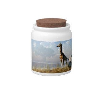 Jirafa y baobab gigante jarra para caramelo