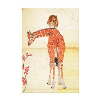 Jirafa y lona ambarina del búho lienzo envuelto para galerias
