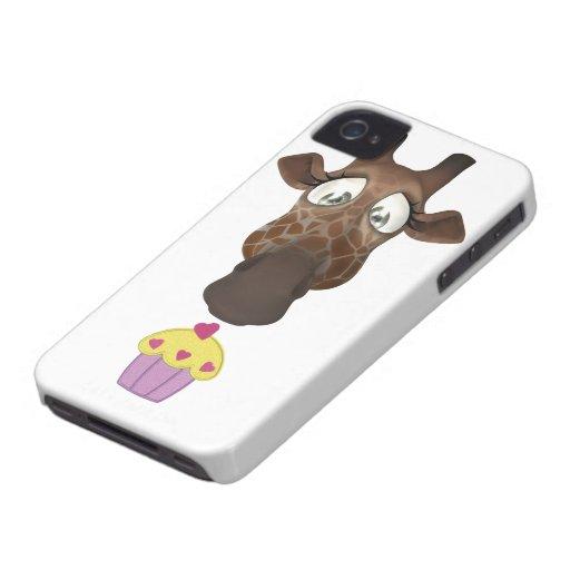 Jirafa y magdalena lindas iPhone 4 Case-Mate carcasa