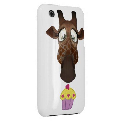 Jirafa y magdalena lindas iPhone 3 Case-Mate cobertura