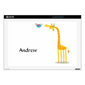 Jirafa y pájaro lindos del dibujo animado skins para 43,2cm portátil