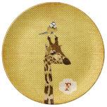 Jirafa y pequeña placa del monograma del pájaro platos de cerámica