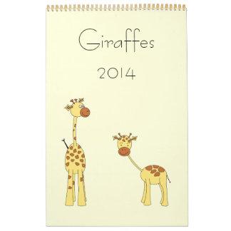 Jirafas 2014. Historietas lindas Calendario De Pared