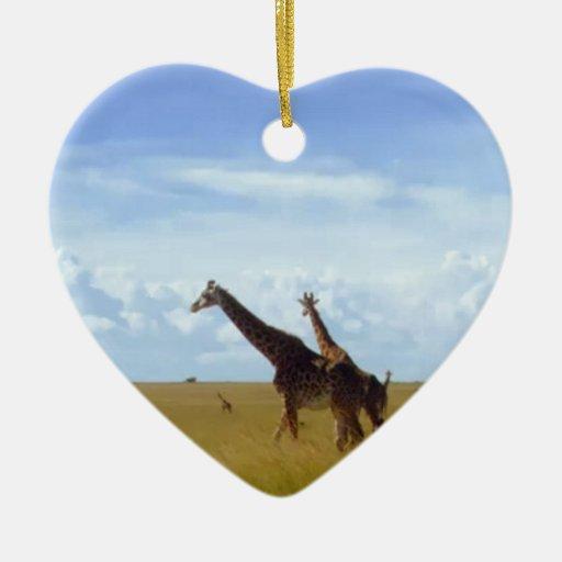Jirafas africanas del safari adorno navideño de cerámica en forma de corazón