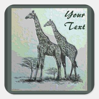 Jirafas africanas retras raras en diseño del alto pegatina cuadrada
