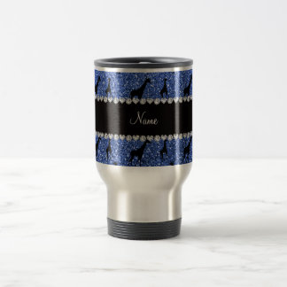 Jirafas azules conocidas personalizadas del brillo taza térmica