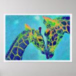 jirafas azules poster