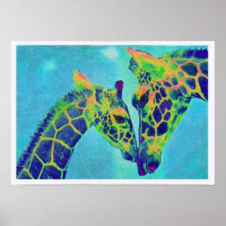 jirafas azules póster